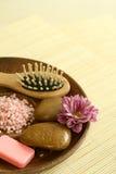 Spa concept. Plate of bath salt, stones, soap Stock Photos