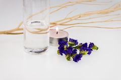 Spa concept with purple statice and coconut oil Royalty Free Stock Photo