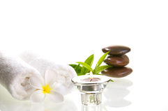 Spa concept with red zen stones and white flower Stock Images