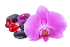 Spa Concept Relax. Orchid Flower and Spa Stones with red Heart Royalty Free Stock Photo