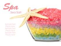 Spa concept with sea salt Stock Photos