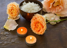 Spa concept. Sea salt and flowers. Stock Image