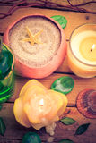 Spa concept sea sand shell scented candles Stock Photo