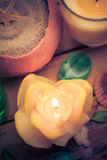 Spa concept sea sand shell scented candles Stock Photos