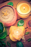 Spa concept sea sand shell scented candles Royalty Free Stock Image