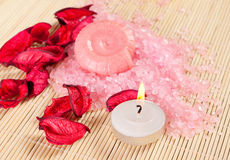 Spa concept: soap, sea salt and candle Stock Photo