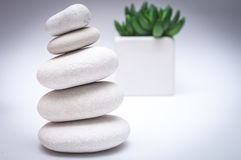 Spa concept. Stack of stones and flower Royalty Free Stock Images