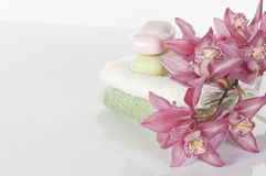 Spa concept still life with orchid Royalty Free Stock Image