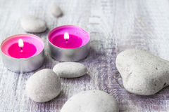 Spa concept stones aromatic candles Stock Photography