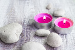 Spa concept stones aromatic candles Stock Photo