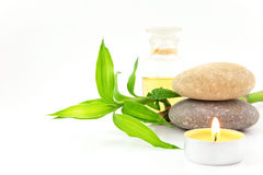 Spa concept with stones,oil and bamboo Royalty Free Stock Photography