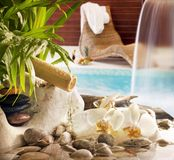 Spa concept with stones orchids waterfall in pool and sunbed stock photography