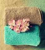 Spa Concept. Top view of beautiful Spa Products. Beautiful flowe Stock Photo