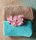 Spa Concept. Top view of beautiful Spa Products. Beautiful flowe Stock Photos