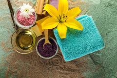 Spa Concept. Top view of beautiful Spa Products with place for t Stock Photo