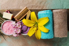 Spa Concept. Top view of beautiful Spa Products with place for t Royalty Free Stock Photos