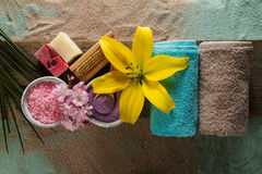 Spa Concept. Top view of beautiful Spa Products with place for t Stock Images