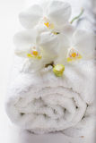 SPA concept with towel and orchid Stock Photos