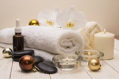 Spa concept, wellness objects on wood plant , christmas background. Present holiday Royalty Free Stock Photos