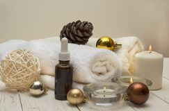 Spa concept, wellness objects on wood plant , christmas background. Present holiday. Concept Royalty Free Stock Photo