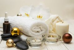Spa concept, wellness objects on wood plant , christmas background. Present holiday. Concept Stock Image