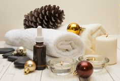 Spa concept, wellness objects on wood plant , christmas background. Present holiday. Concept Royalty Free Stock Photography