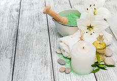 Spa concept with white lilies Royalty Free Stock Photo