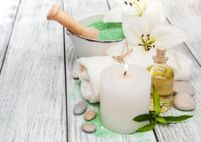 Spa concept with white lily Royalty Free Stock Images