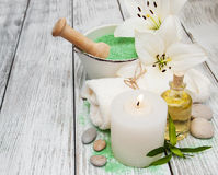Spa concept with white lily Stock Photography