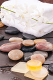 Spa concept with white orchids and zen stones outdoor Royalty Free Stock Images
