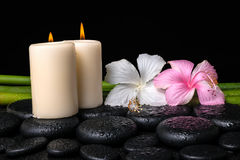 Spa concept of white, pink hibiscus flowers, candles and natural Stock Image