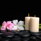 Spa concept of white, pink hibiscus flowers, candles and natural Royalty Free Stock Photography