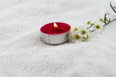Spa concept with  white towel decorated by cutter flower and red Stock Photography