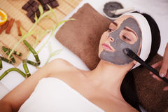 Spa concept. Young woman with nutrient facial mask in beauty salon, close up.  Royalty Free Stock Image
