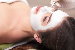 Spa concept. Young woman with nutrient facial mask in beauty salon, close up.  Stock Images