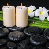 Spa concept of zen basalt stones, two white flower frangipani Stock Photo