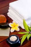 Spa concept with zen stone and bath salt Stock Photos