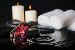 Spa concept of zen stones with drops, purple orchid Royalty Free Stock Photos