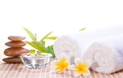 Spa concept with zen stones and flowers Stock Images