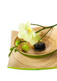 Spa concept: zen stones and orchid Royalty Free Stock Photo