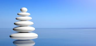 Zen stones stack on water, blue sky background. 3d illustration royalty free stock photography
