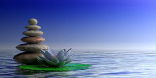 Zen stones and waterlilly on blue sea and sky background, copy space. 3d illustration royalty free illustration