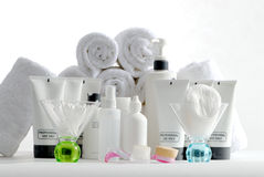Spa containers and products Royalty Free Stock Photo
