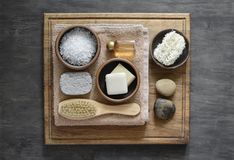 Spa natural products arrangement. Spa cosmetic natural products arrangement, view from above, flat lay Royalty Free Stock Photos