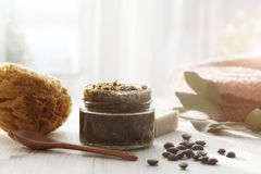 Free Spa Cosmetic Products, Milk Soap, Handmade Sugar Coffee Scrub With Coconut Oil In Glass Jar And Towel Stock Image - 168138551