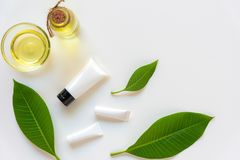 Spa cosmetic products organic green concept, spa beautiful massage on white background top view and copy space for text, Thai Spa. Relax and treatment for body royalty free stock images