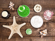 Spa cosmetics and accessories Royalty Free Stock Photos