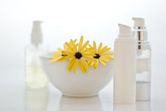 Spa - cosmetics with flowers Stock Photo