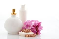 Spa - cosmetics with flowers Stock Images