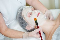 Spa cosmetologist applying facial mask Stock Images